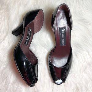 Etienne Aigner Black patent peep toe pumps